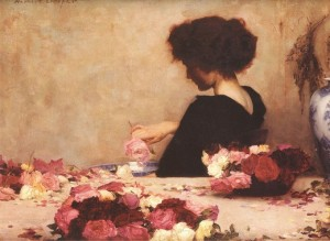 herbert james draper woman making potpourri painting