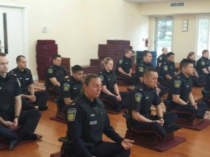police officers meditating