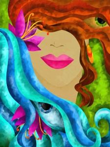 viso di donna con capelli color rame