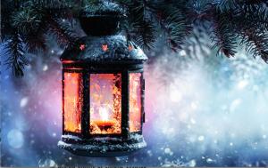 resized lantern in snow