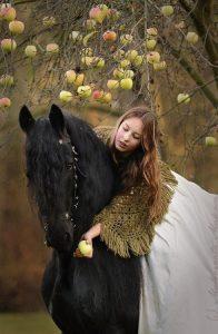 woman horse apple
